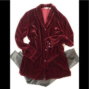 EUC EB L Tall Velvet Shawl Collar Button Tunic